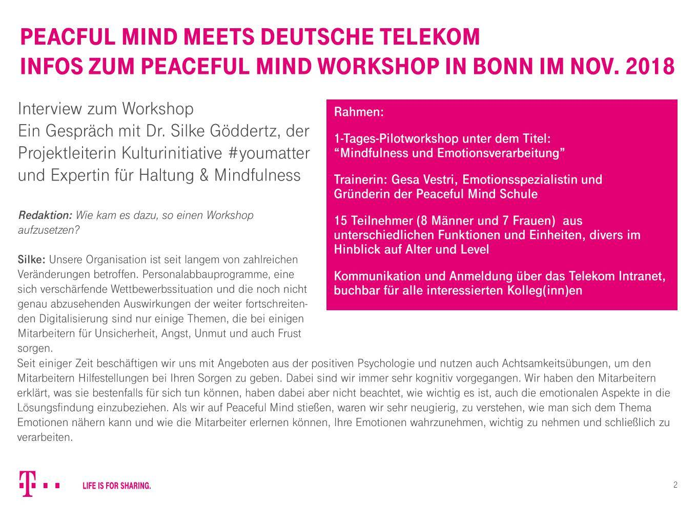 Peaceful Mind Workshop Dt Telekom2